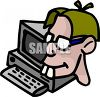 Buck toothed computer nerd or geek wearing glasses clipart