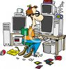 Cartoon of a classic computer nerd with beanie propeller hacking at the computer clipart