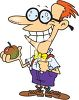 Cartoon nerd boy with glasses, bowtie and an Apple for teacher clipart