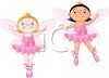 To little girl ballerinas dancing ballet while wearing angel wings clipart