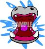 Hippopotamus with its big mouth wide open clipart