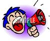 Boy or man with big mouth making announcement with a megaphone clipart