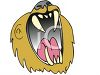 Lion with a big mouth roaring clipart