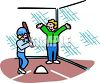 People playing baseball with the batter approaching home plate clipart