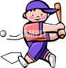 A little boy taking a mighty swing at a baseball clipart