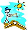 Stick figure kid playing baseball on a summer day clipart