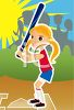 Little girl at home plate ready to take a swing at the baseball or softball game clipart