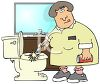 Maid cleaning the toilet clipart