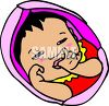 Infant baby girl sucking thumb clipart