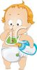 Toddler baby in diapers sucking thumb while holding baby bottle clipart