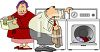 Cartoon couple doing the laundry in a Washer and Dryer at Home clipart