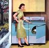Retro style image of housewife doing laundy at the washer and dryer clipart
