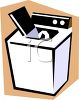 White Washing Machine with Lid Open Ready for Laundry clipart