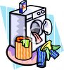 Washing Machine with Clothes or Laundry clipart