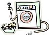 Front Loading Clothes Washer or Washing Machine with Laundry Basket clipart