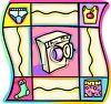 Laundry Graphic with Clothes and a Washing Machine or Washer clipart