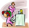 Woman Loading Clothes or Laundry Into a Washer or Washing Machine clipart