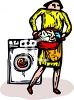 Woman Doing the Laundry with Laundry Basket Full of Clothes clipart