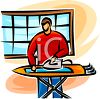 Man, Dad or Father Ironing Clothes on an Ironing Board clipart