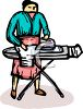 Woman Ironing Laundry on Ironing Board clipart