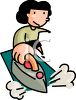 Girl Ironing Clothes Using an Iron on an Ironing Board clipart