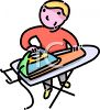 Boy or Man Ironing His Own Laundry clipart