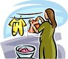 Wife and Mother Doing Laundry, Hanging Clothes on a Clothesline to Dry with Clothepins clipart
