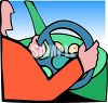Person Driving a Car Holding the Steering Wheel clipart