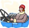 Old-Fashioned Lady Driving a Classic Car from Days Gone by clipart