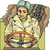 Russian Driving a Tractor clipart