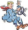 Man Driving and Flying through the Air Holding onto a Steering Wheel clipart