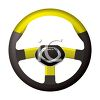 Car or Automobile Steering Wheel, Yellow and Black clipart