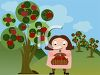 Woman Picking Fruit or Apples in an Orchard clipart