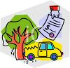Car Crashed into a Tree with an Auto Insurance Policy That Will Take Care of the Damages clipart