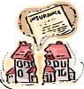 Homeowners Insurance Graphic Showing a House Split in Two clipart