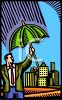 Man Holding an Umbrella As Protection or Insurance clipart