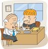 Old Man Buying Life Insurance from an Insurance Agent - Health Insurance clipart