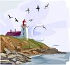 Lighthouse on the Coast with Seagulls and Calm Waters in the Ocean clipart