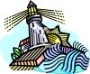 Lighthouse Overlooking the Ocean Standing As a Sentinel clipart