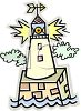 Lighthouse Sentinel Standing Guard for Oceangoing Vessels clipart
