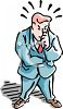 Businessman Thinking Hard and Trying to Solve a Problem clipart