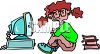 Girl Trying to Do Homework on a Computer clipart