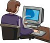 Girl Working on PC Computer, Typing at Keyboard clipart