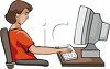 Teenage Girl Working on Computer clipart