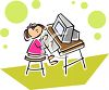 Little Girl Typing at a Computer clipart