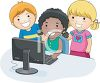 Three Little Kids Having Fun with the Computer clipart