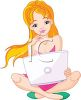Teenage Girl with Computer on Her Lap clipart