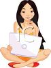 Pretty Young Woman or Girl with Laptop Computer on Her Lap clipart