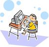 Little Boy Using a Computer at School or at Home clipart