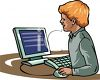 Small Boy Using a PC Computer clipart